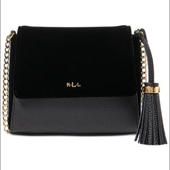 9c2bf4e38376 New Ralph Lauren velvet and leather crossbody bag